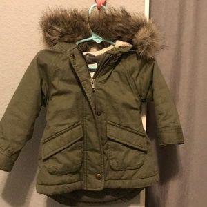 Old navy Olive green hood fur jacket 12-18 months